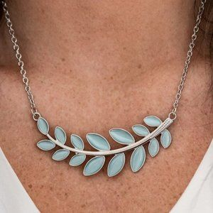 Frosted Foliage Blue Necklace